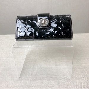 COACH Embossed Turn Lock Patent Leather Wallet